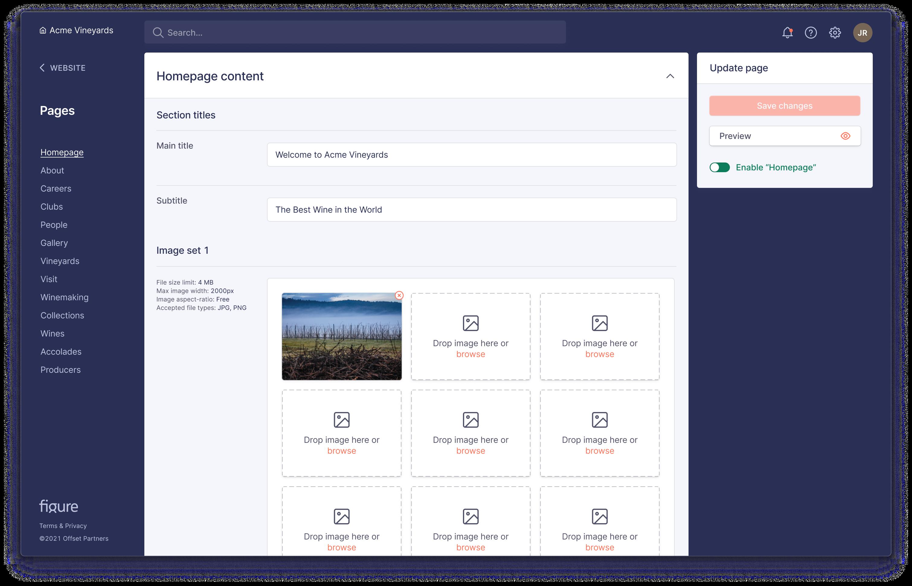 Figure content management system product screenshot