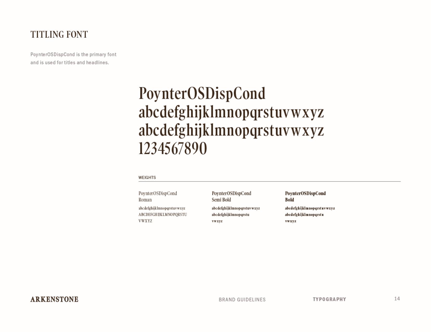 Arkenstone brand standards titling font