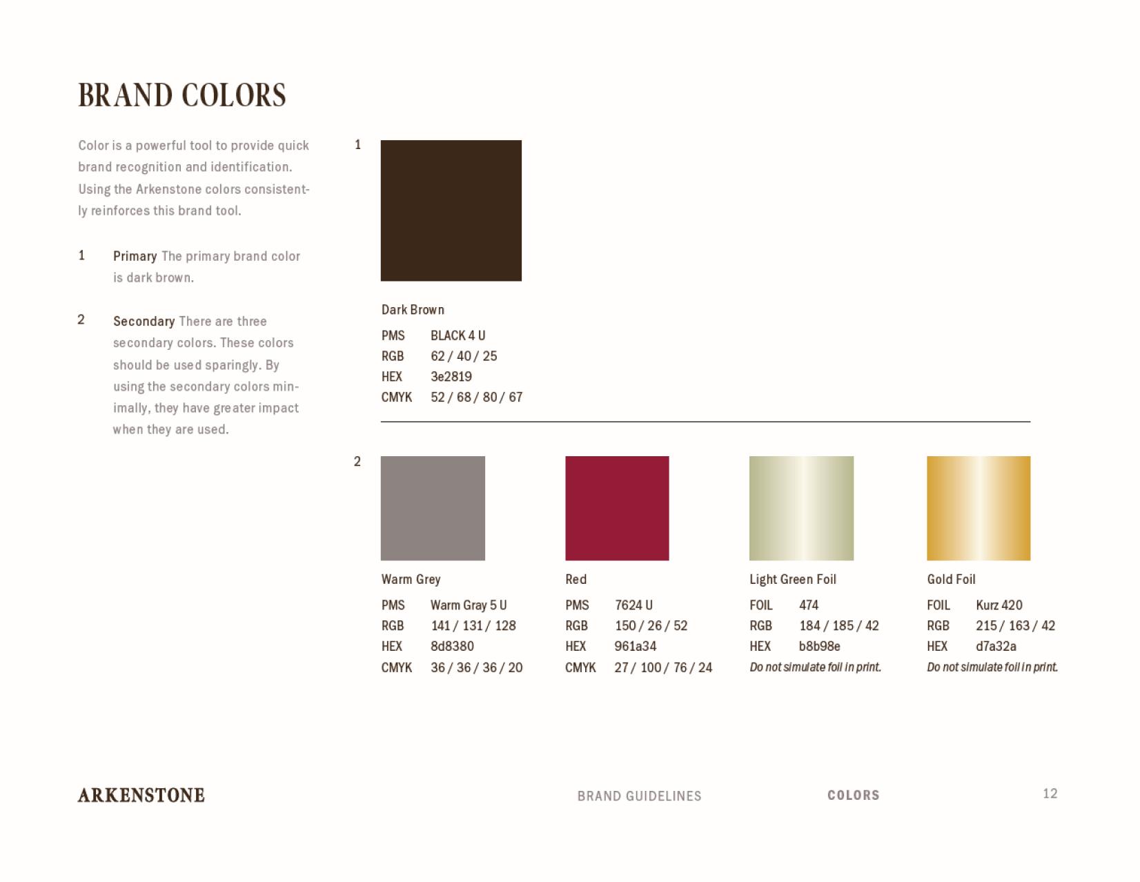 Arkenstone brand standards colors