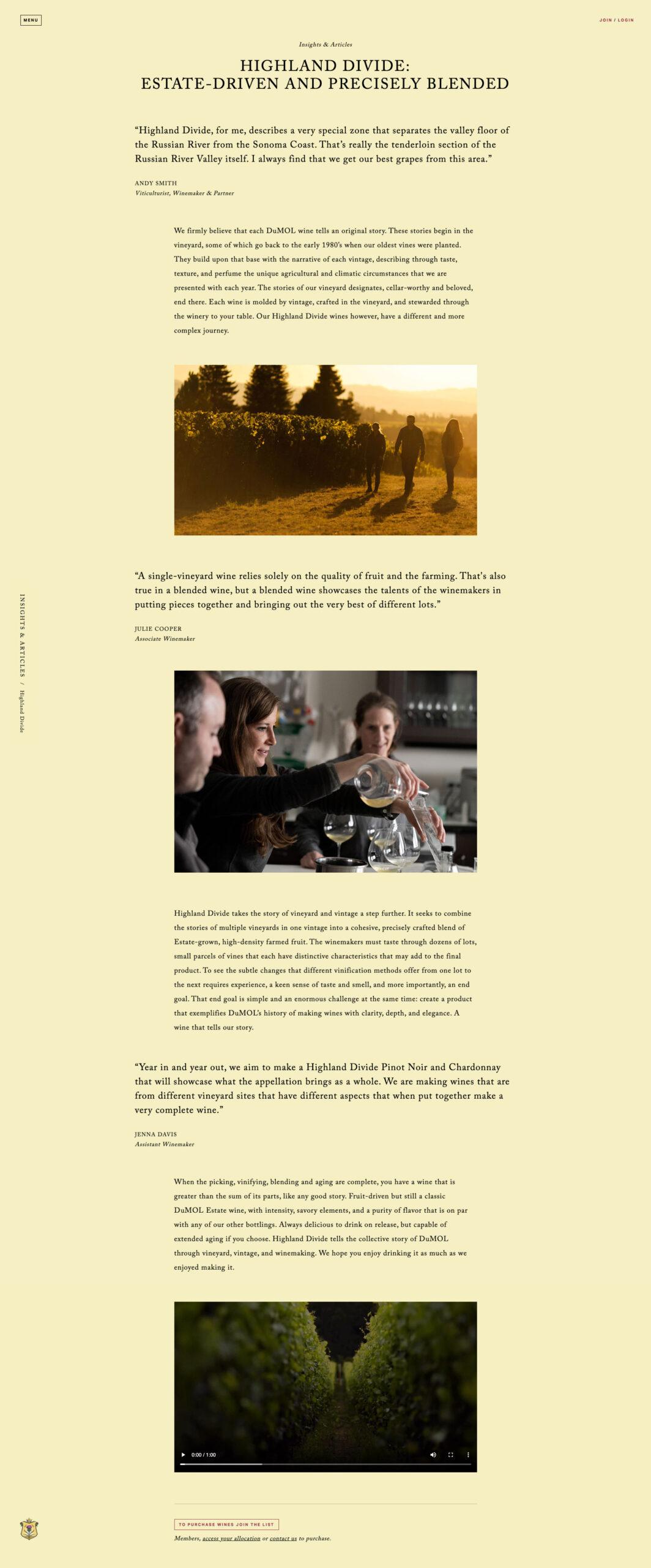 DuMol website story example
