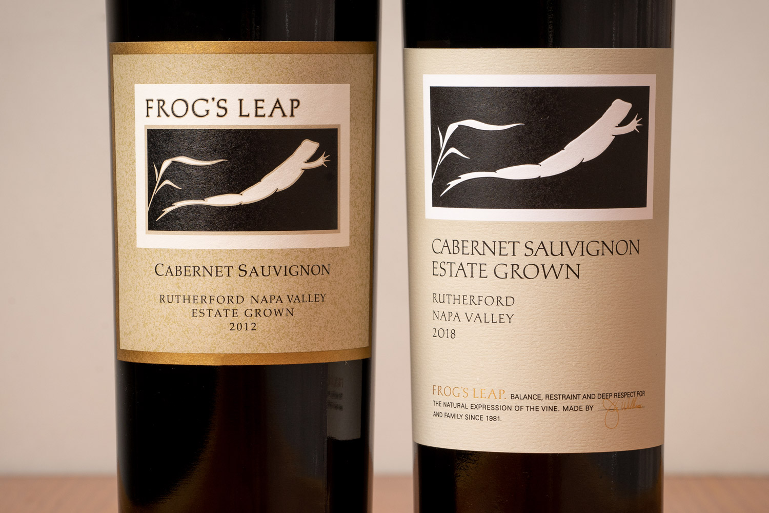 Frog's Leap Cabernet Sauvignon Label before and after