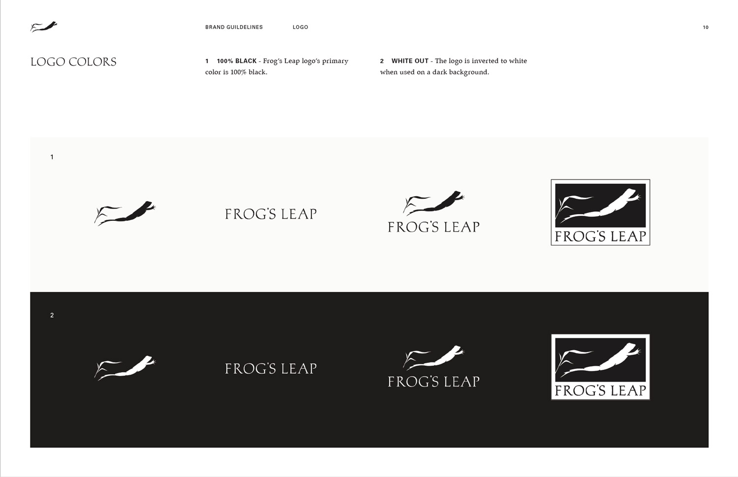 Frog's Leap Visual Identity Guidelines Logo Colors