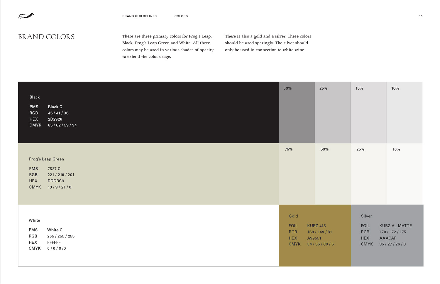 Frog's Leap Visual Identity Guidelines Brand Colors