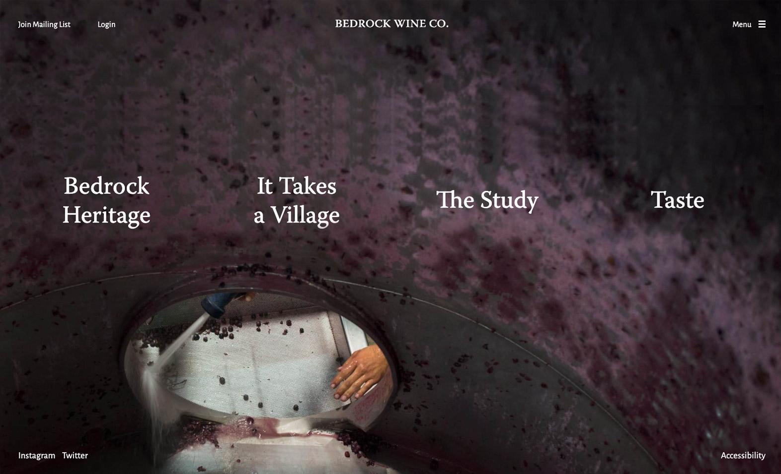 Bedrock Wine Co. Website