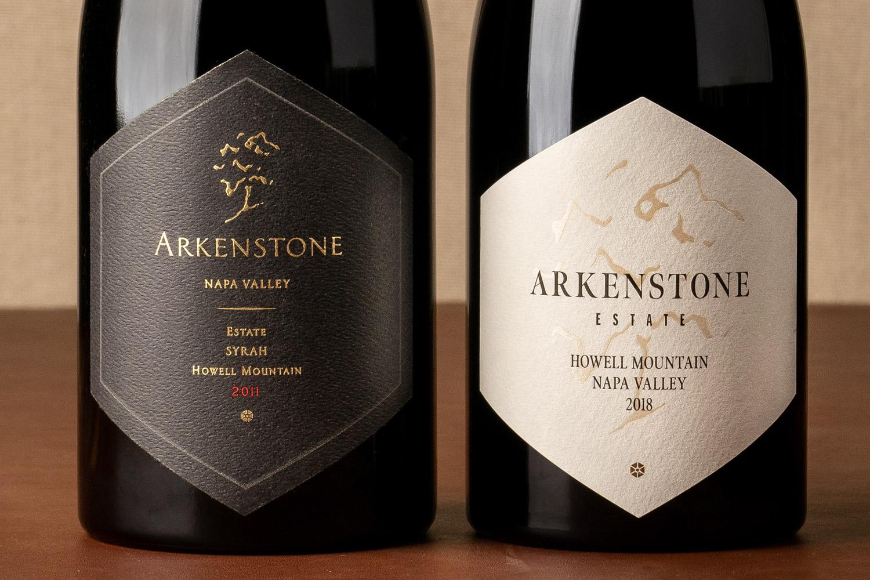 Arkenstone Estate Syrah label before and after