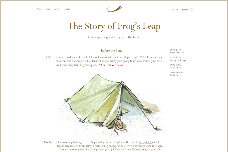 Frog's Leap website timeline